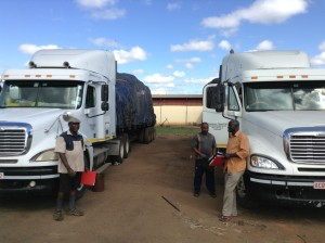 Trucks loaded with soya cake for export from Malawi, 2014 (Source: B. Edelman)